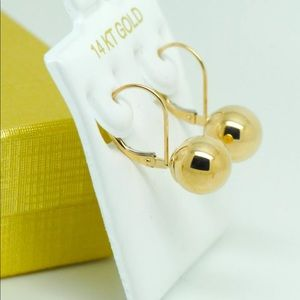 Jewelry - 14K YELLOW GOLD DROP ROUND BALL EARRINGS